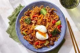 Mushroom & Bok Choy Ramen with Black Bean Sauce & Soft-Boiled Eggs