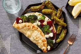 Greek-Style Beet & Broccoli Pitas with Marinated Feta & Tzatziki