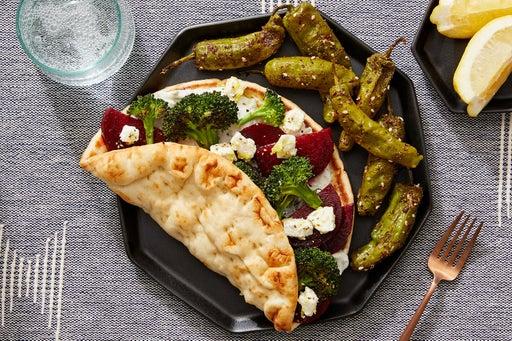 Greek-Style Beet & Broccoli Pitas with Marinated Feta & Tzatziki