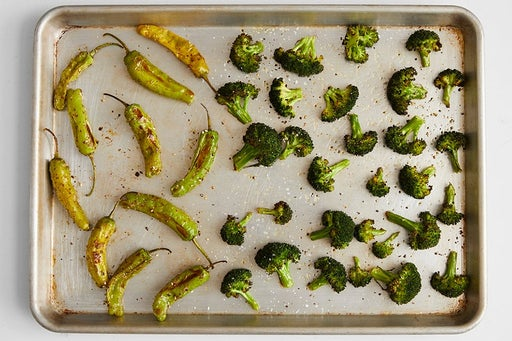 Roast the peppers & broccoli: