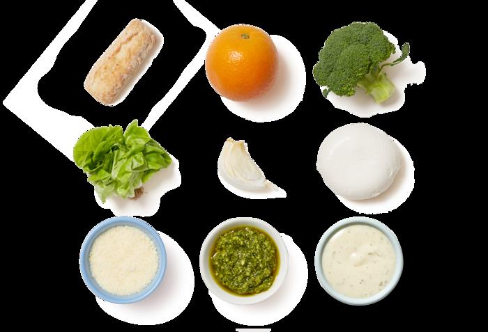 Basil Pesto & Broccoli Subs with Butter Lettuce & Orange Salad
