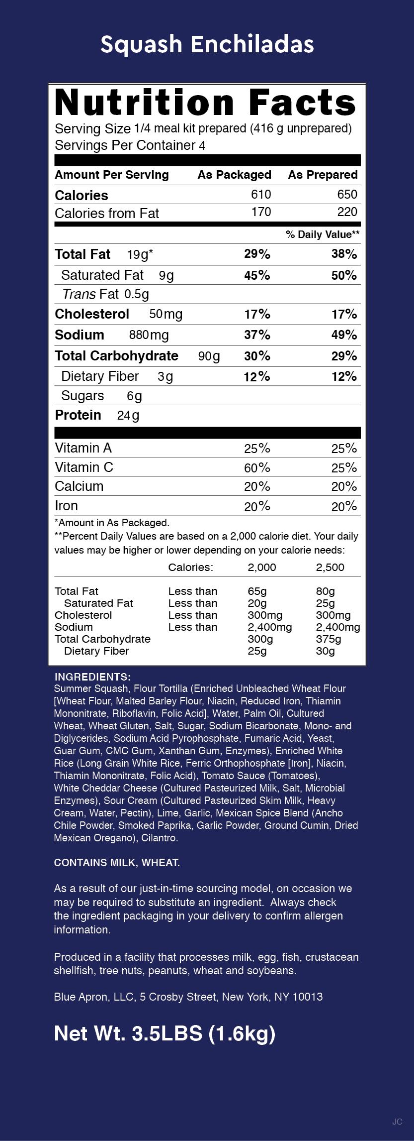 Blue apron zucchini enchilada - Nutrition Label