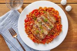 Mexican-Spiced Pork Chops with Guajillo Barley & Cotija Cheese