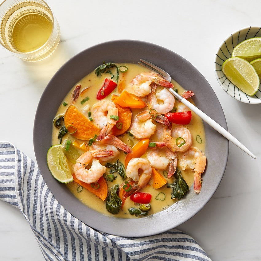 Shrimp & Sweet Potato Curry with Lemongrass & Coconut Milk