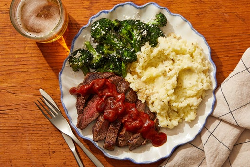 Seared Steaks & Guajillo-Date Sauce with Cheesy Mashed Potatoes & Roasted Broccoli