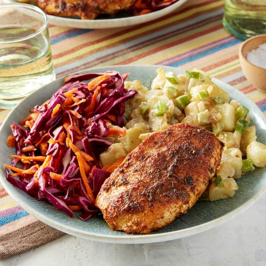 Cajun-Spiced Chicken with Potato Salad & Red Cabbage Slaw