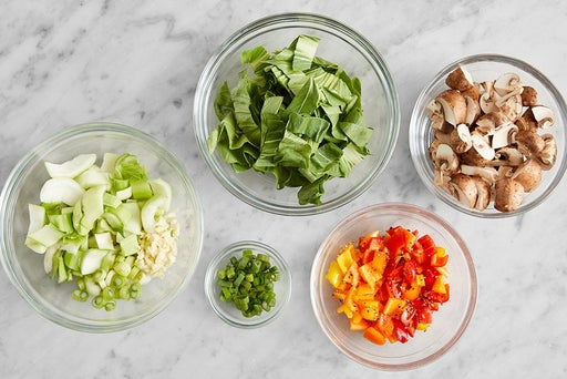 Prepare the ingredients & marinate the peppers: