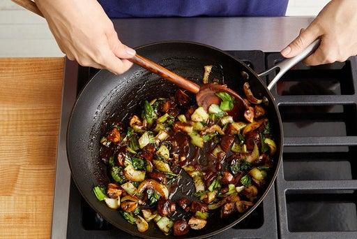 Cook the mushrooms & bok choy: