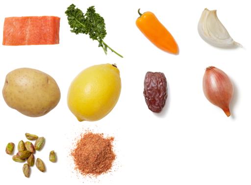 Smoky Salmon & Shallot-Date Sauce with Roasted Vegetable & Kale Salad
