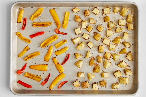 Roast the peppers & potatoes: