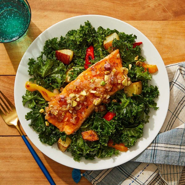 Smoky Salmon & Shallot-Date Sauce with Roasted Vegetable & Kale Salad