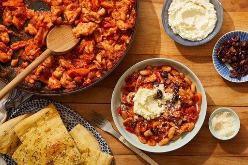 Italian Chicken & White Bean Skillet with Ricotta & Pizza Bianca