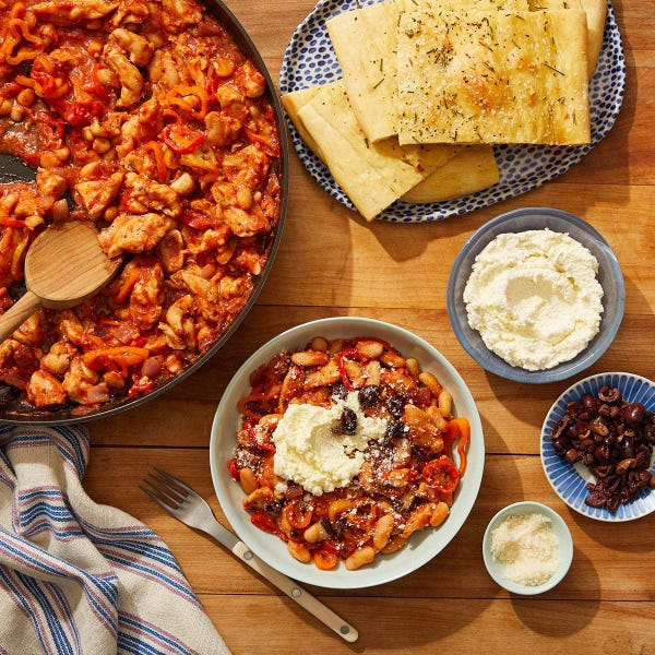 Italian Chicken & White Bean Skillet with Ricotta & Pizza Bianca