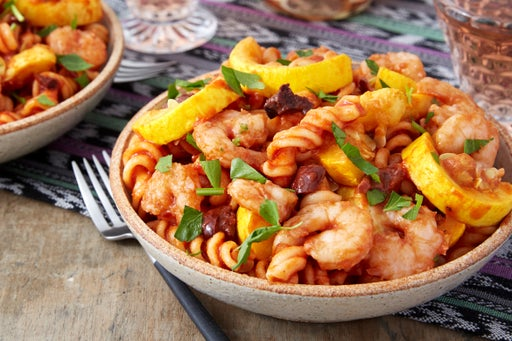 Shrimp & Fresh Fusilli Pasta with Summer Squash, Olives, & Parsley