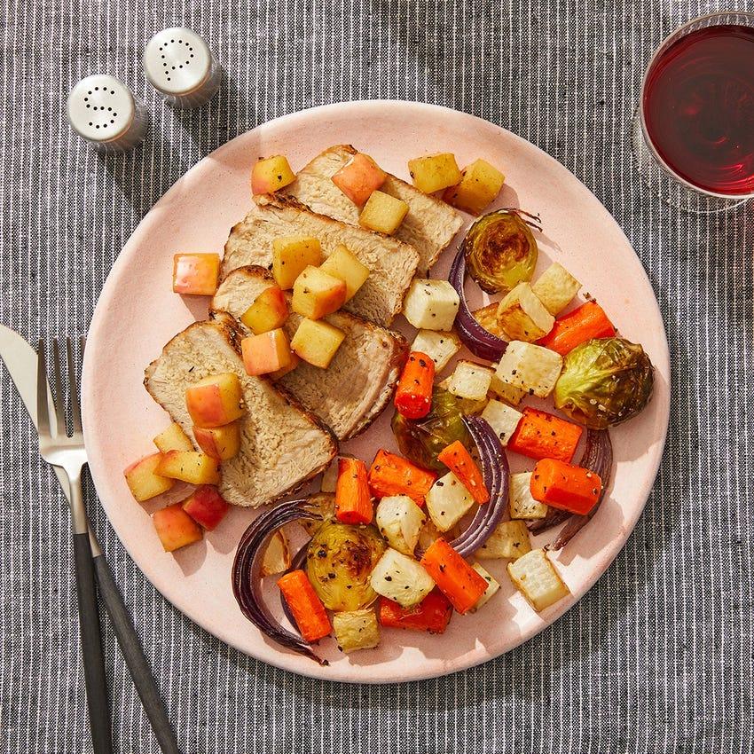 Spiced Pork & Glazed Apple with Roasted Vegetables