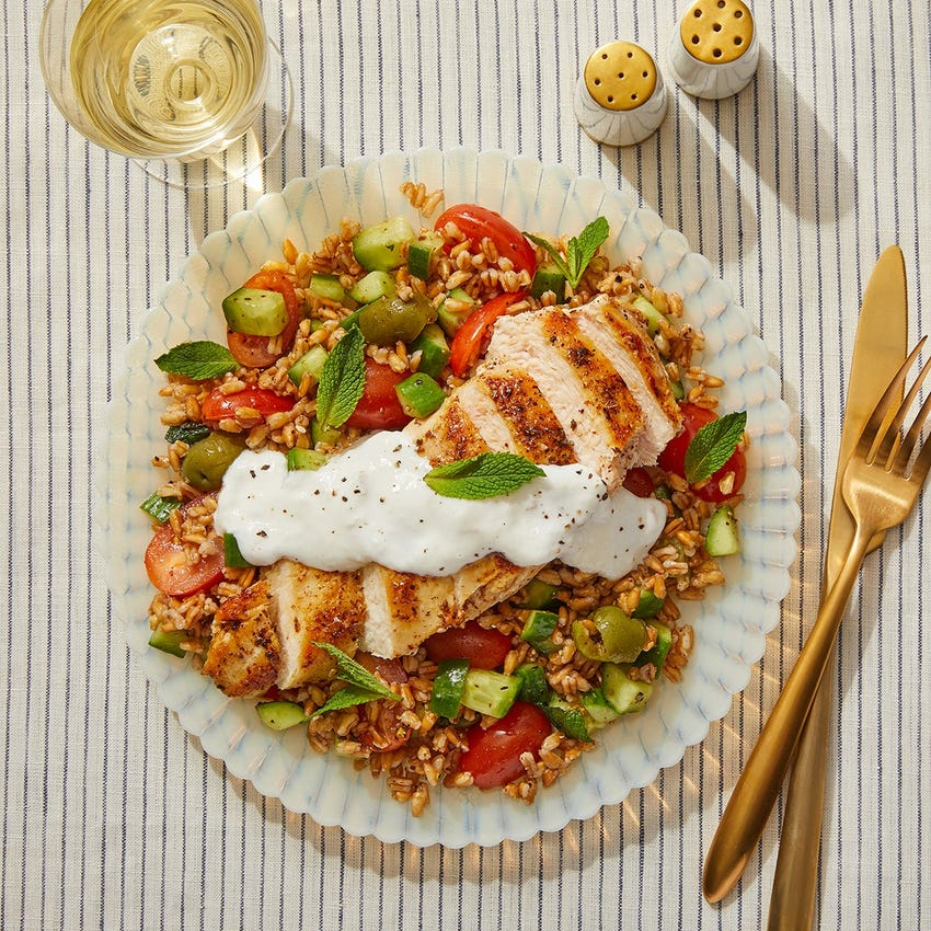 Za'atar-Spiced Chicken & Farro Salad with Lemon-Garlic Yogurt