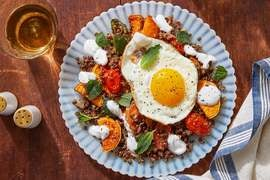 Lentils & Lemon-Shallot Dressing with Roasted Vegetables & Fried Eggs