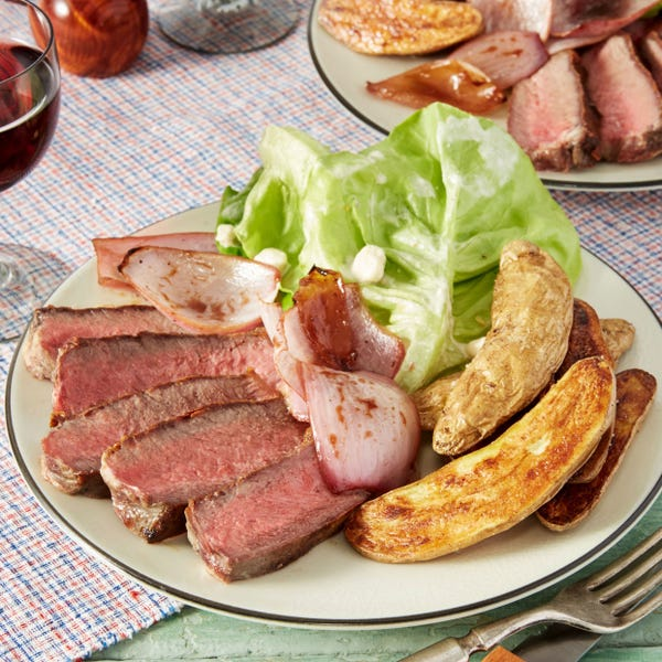 Seared Steak & Fingerling Potatoes with Charred Onion & Butter Lettuce Salad