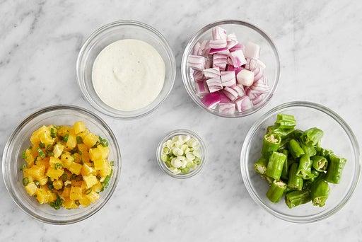 Prepare the ingredients & make the orange salsa: