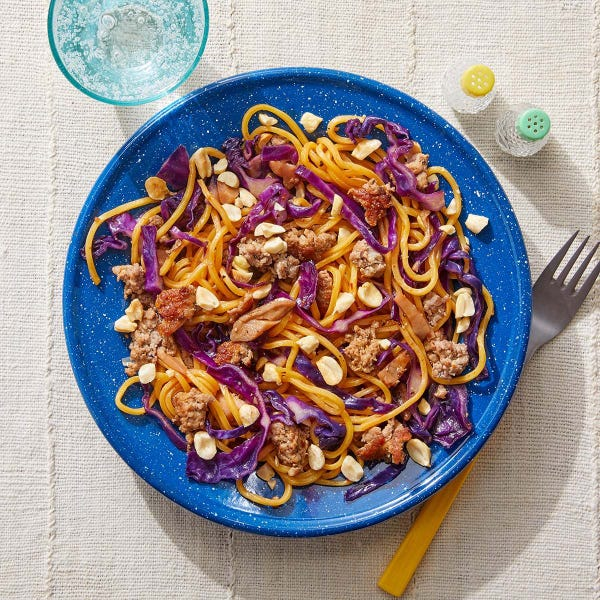 Curry Pork Noodles with Cabbage & Peanuts