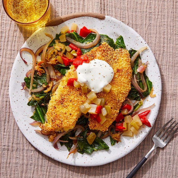 Southern-Style Tilapia & Collard Greens with Piquillo Pepper & Pickle Relish
