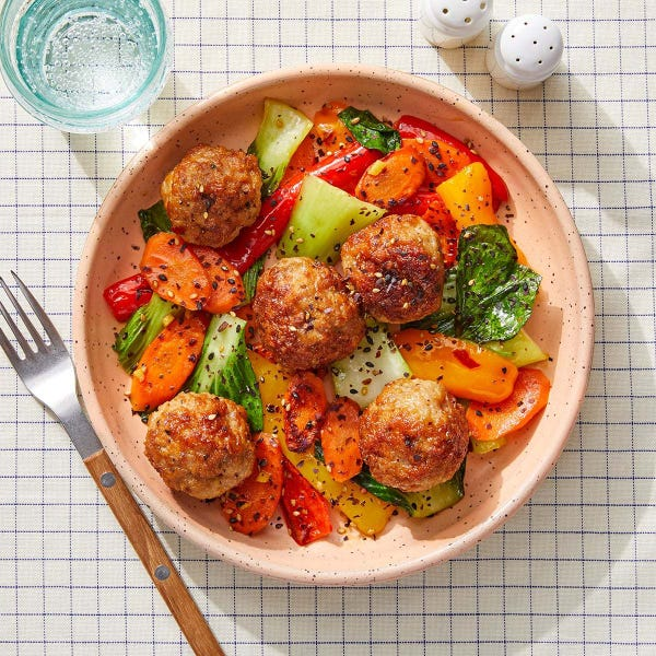 Orange-Glazed Turkey Meatballs with Carrots & Sweet Peppers