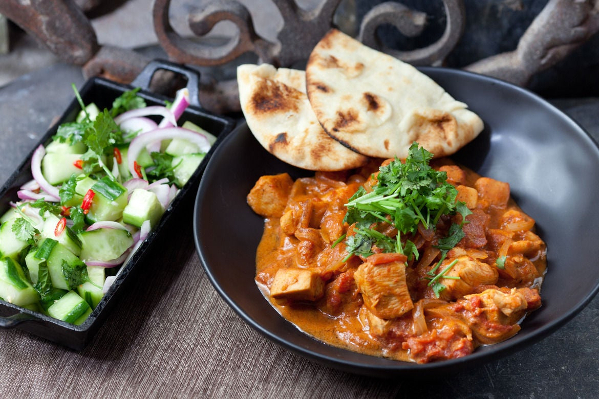 Recipe: Chicken Tikka Masala with Minted Cucumber Salad & Naan - Blue ...
