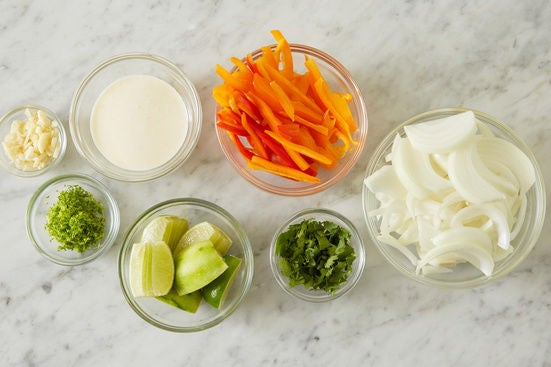 Prepare the ingredients & make the lime crème fraîche: