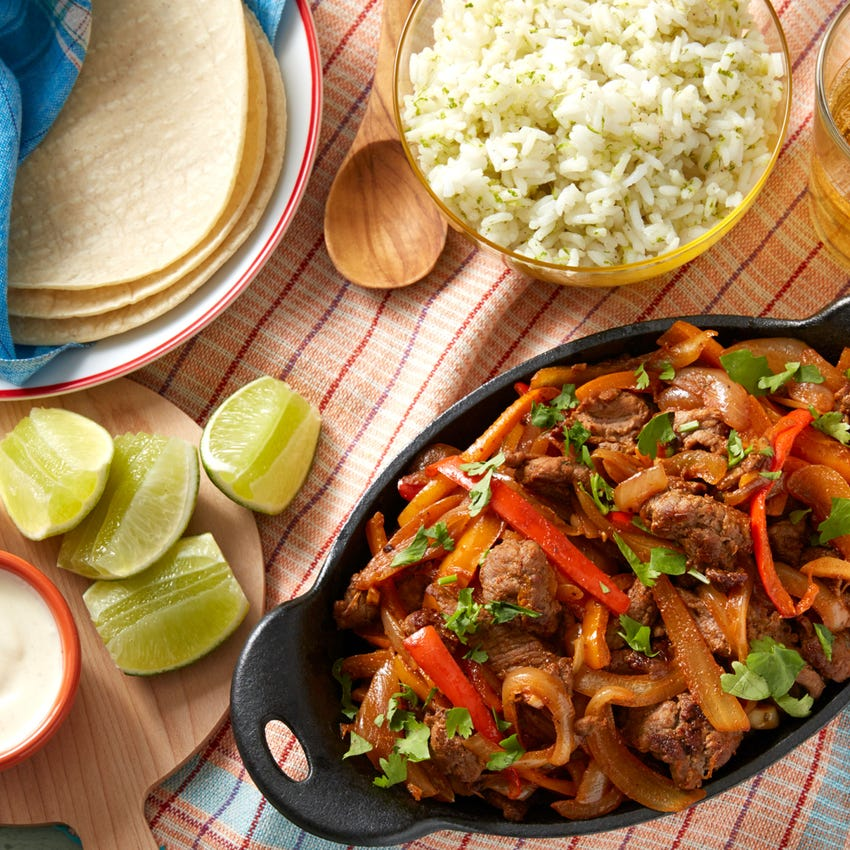 Mexican Beef Fajitas with Sweet Peppers & Lime Crème Fraîche