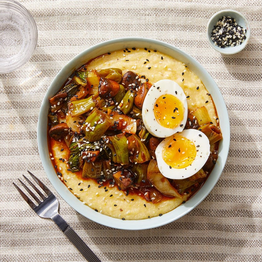 Savory Polenta & Soft-Boiled Eggs with Mushrooms, Bok Choy & Shishito Peppers