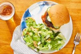 Thai-Style Burgers & Spicy Peanut Sauce with Sesame-Dressed Bok Choy Salad