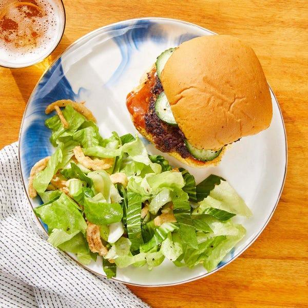 Burgers & Spicy Peanut Sauce with Bok Choy & Crispy Onion Salad