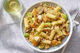Pesto Chicken Pasta with Brussels Sprouts, Goat Cheese & Walnuts