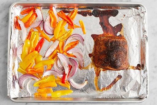 Roast the vegetables & pork: