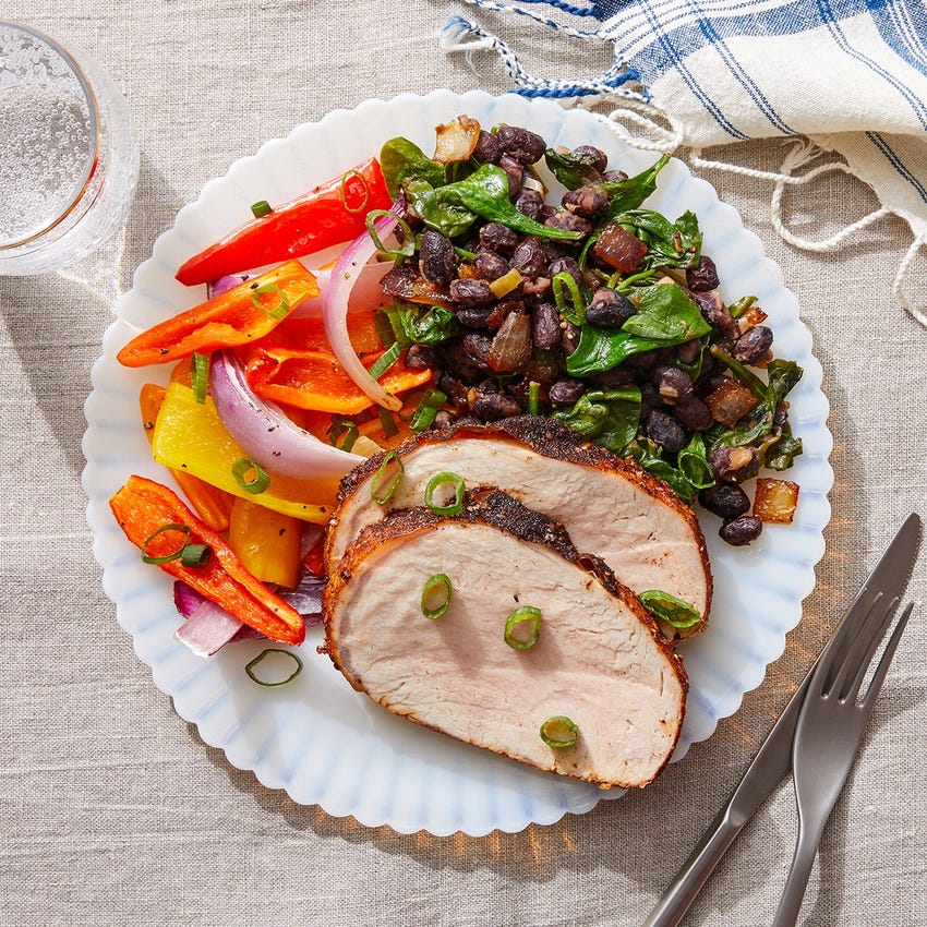 Mexican-Spiced Pork Roast with Caramelized Onion, Spinach & Black Beans