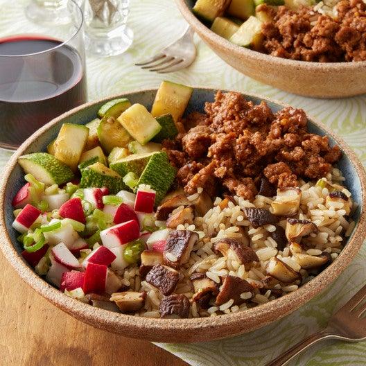 Spicy Pork & Rice Bowls with Shiitake Mushrooms & Summer Squash