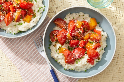 Creamy Risotto with Peppers, Tomatoes & Romano Cheese