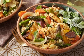 Spring Vegetables & Toasted Pearl Couscous with Spicy Halloumi-Style Cheese