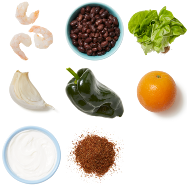 Mexican-Spiced Shrimp Lettuce Cups with Black Beans & Poblano Pepper