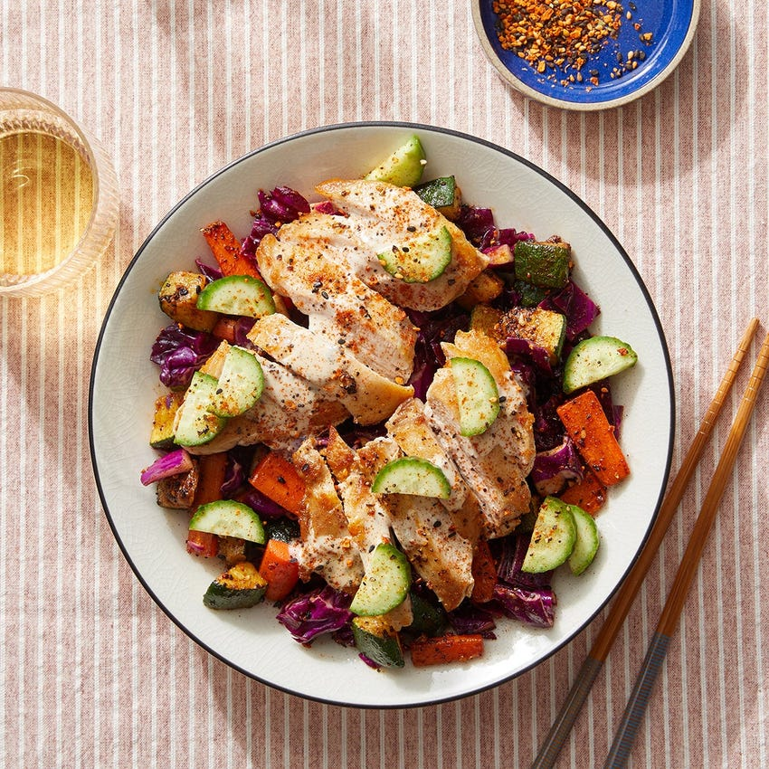 Seared Chicken & Spiced Vegetable Salad with Savory Ranch Dressing