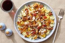 Spanish-Style Beef & Vegetables with Saffron-Date Rice & Lemon Aioli