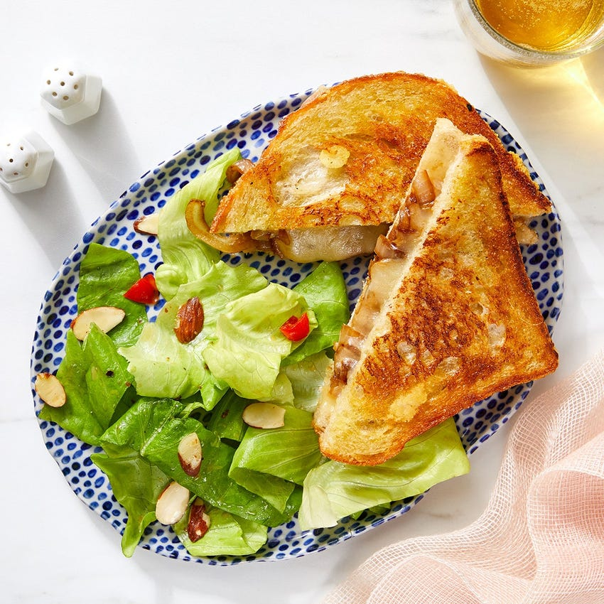 Caramelized Onion Grilled Cheese with Butter Lettuce Salad & Creamy Fig Dressing