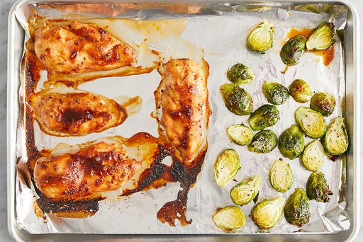 Roast the chicken & brussels sprouts: