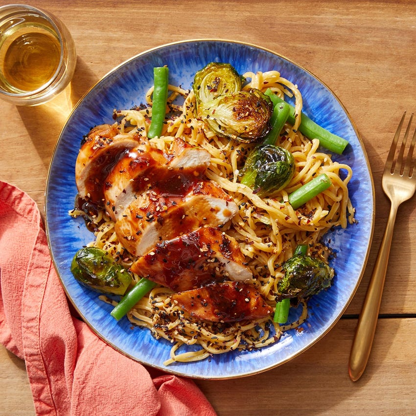 Glazed Chicken & Peanut Noodles with Brussels Sprouts & Green Beans