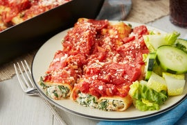 Spinach & Ricotta Cannelloni with Little Gem & Marinated Shallot Salad