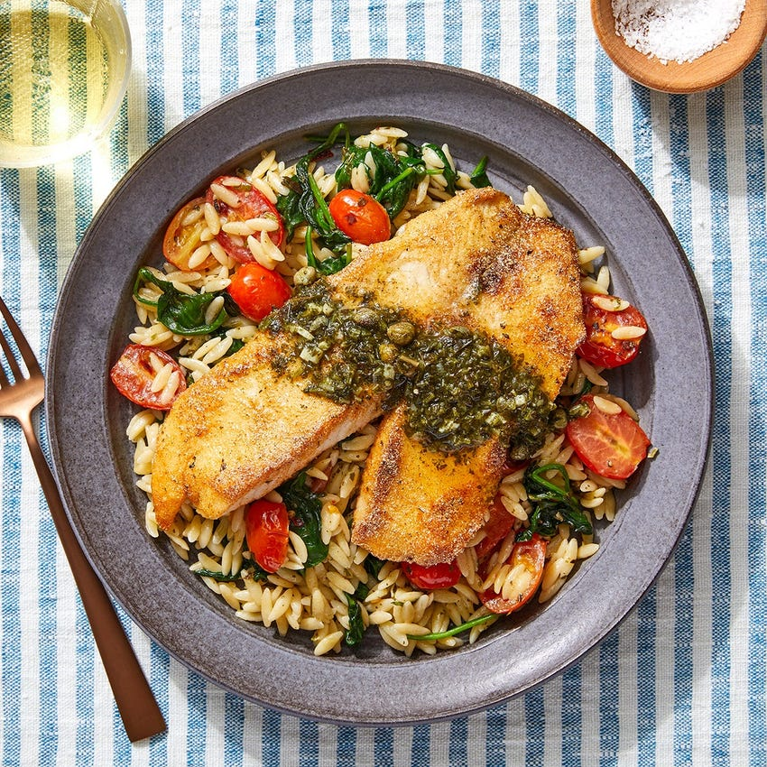 Salsa Verde Tilapia with Spinach, Tomatoes & Orzo Pasta