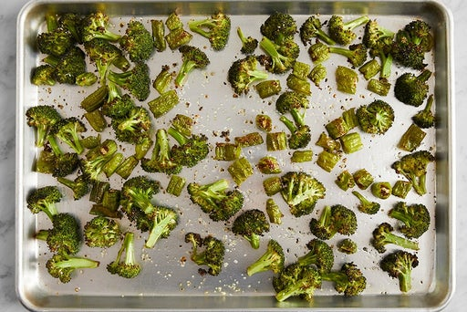 Roast the broccoli & peppers: