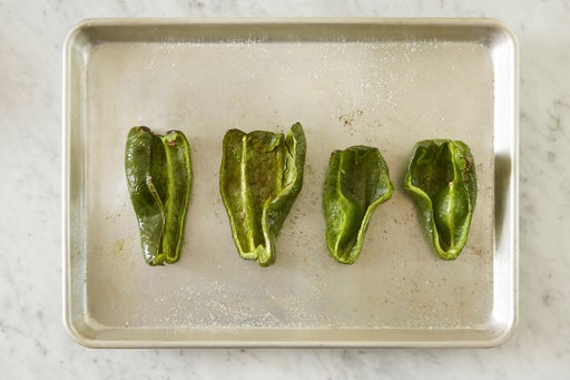 Roast the peppers: