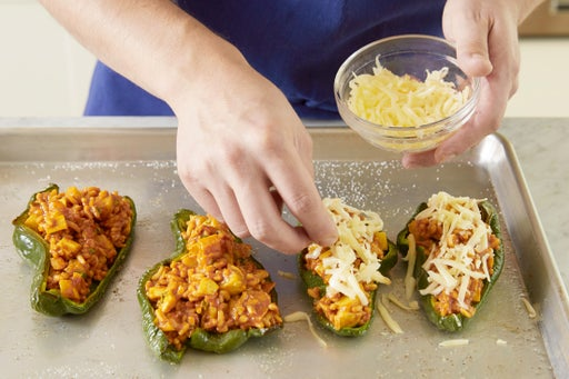 Assemble & bake the chiles rellenos:
