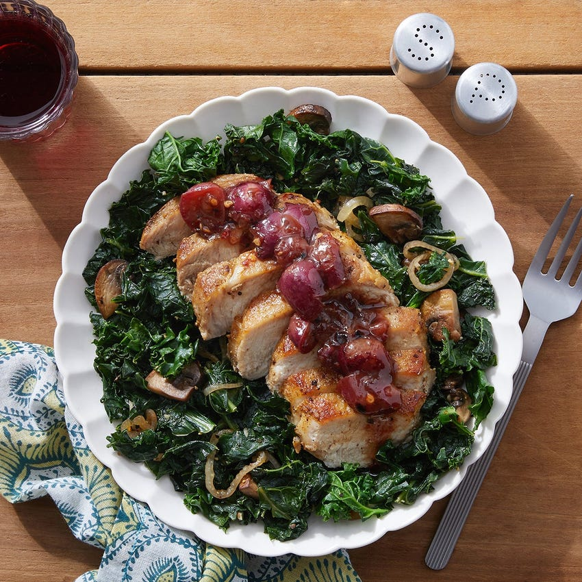 Tuscan-Spiced Pork & Grape Agrodolce with Kale & Mushrooms